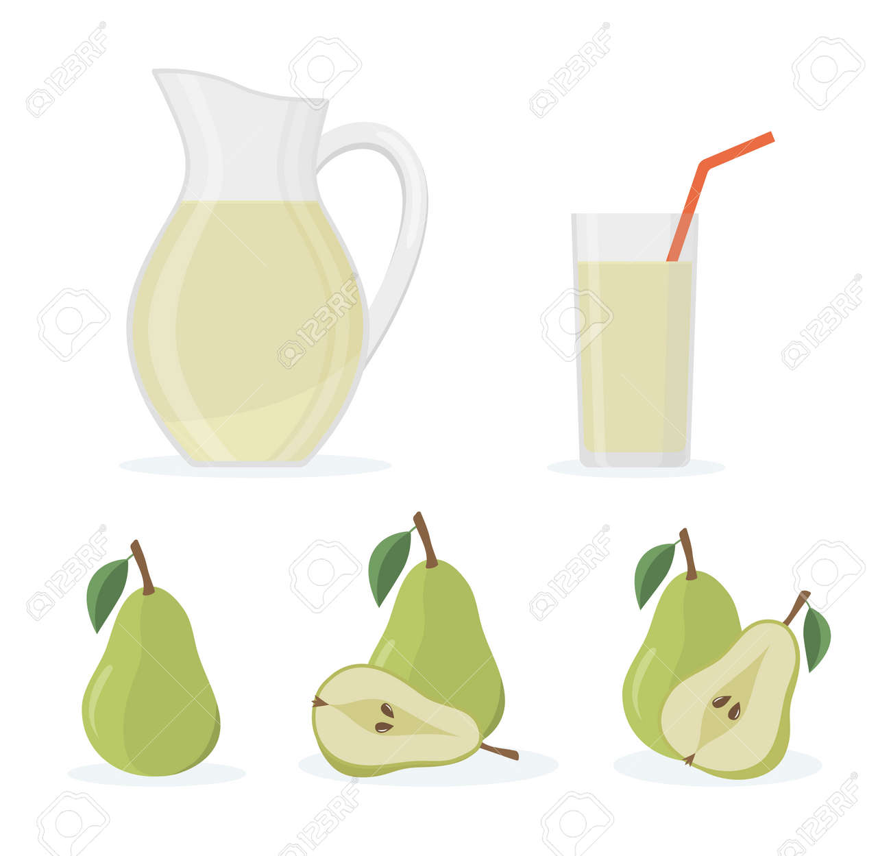 Set of fresh whole and cut pear, jug and glass of pear juice. Isolated on white background. Flat style vector illustration. - 156486092