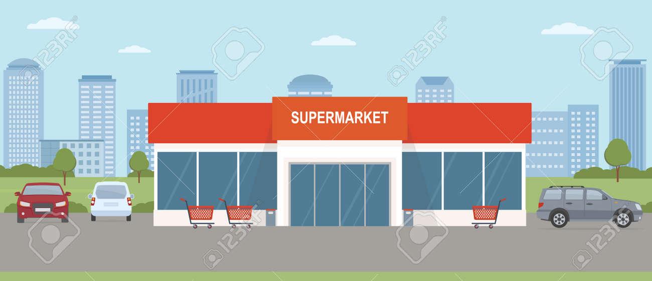 Supermarket building with parking lot. Urban landscape. Flat style, vector illustration. - 156493833