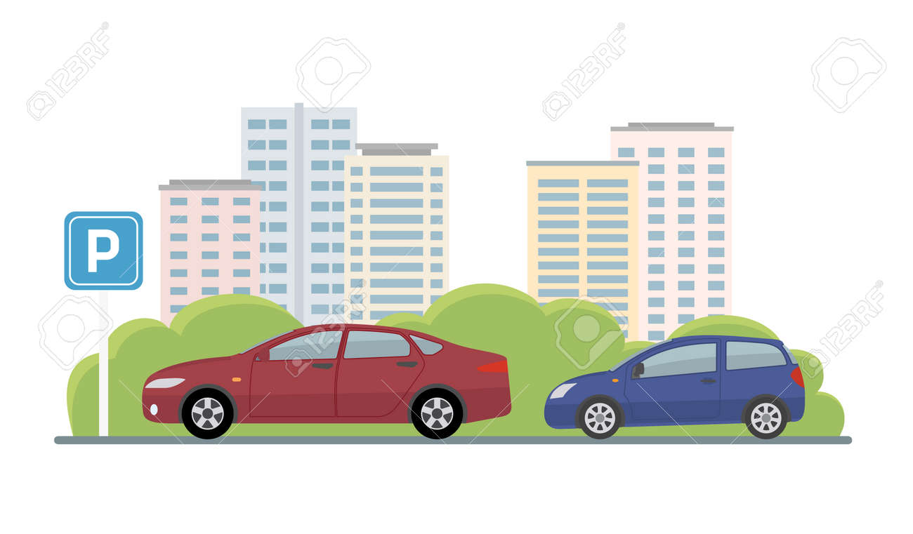 Parking lot with two cars on city background. Flat style, vector illustration. - 157138167