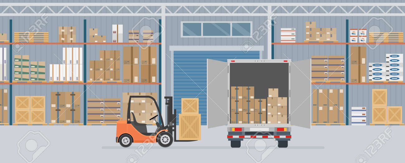 Delivery truck and forklift truck in warehouse hangar interior. Warehouse Equipment, cargo delivery, storage service. Vector illustration. - 164221467