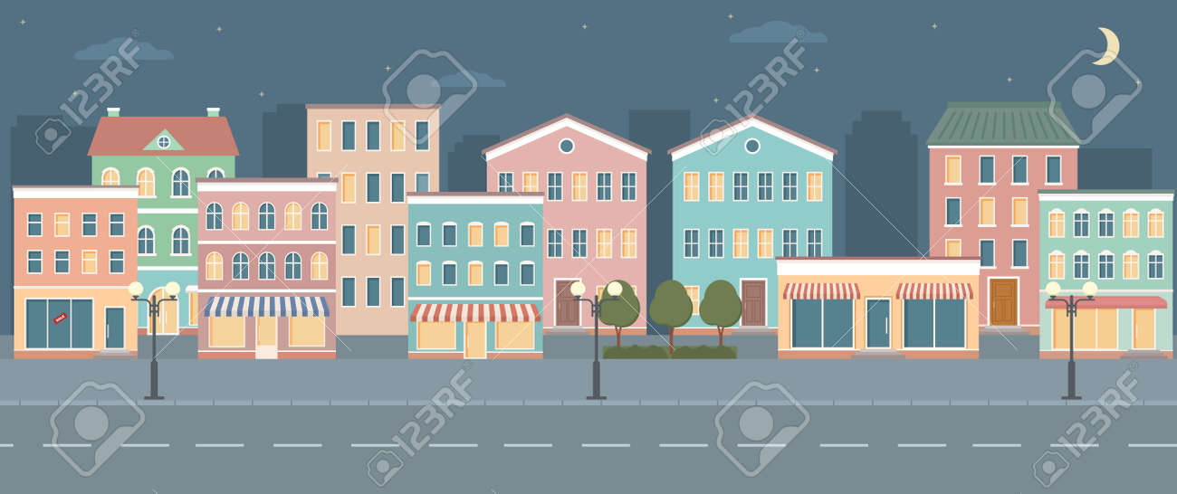 City life illustration with house facades, road and other urban details. Night panoramic view. Flat style, vector illustration. - 165533906