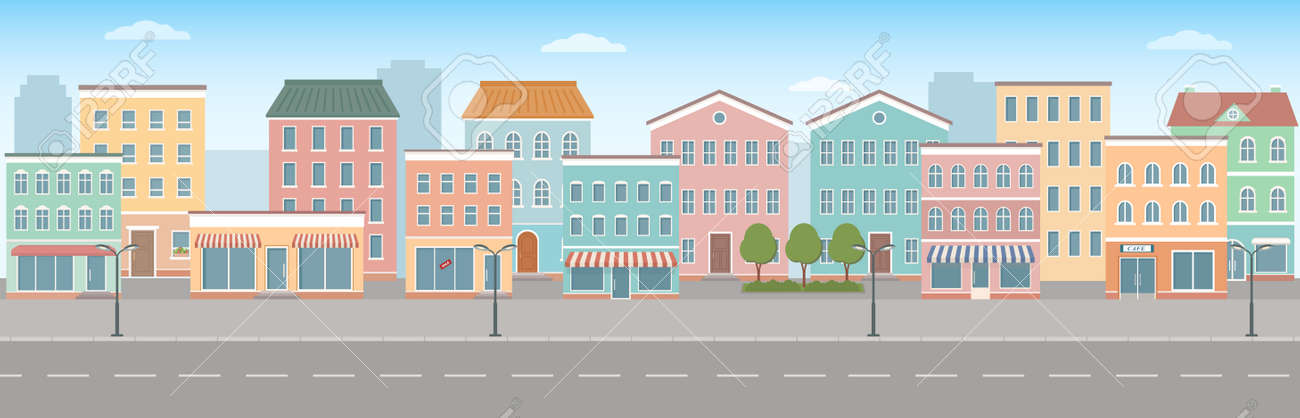 City life illustration with house facades, road and other urban details. Panoramic view. Flat style, vector illustration. - 166672357