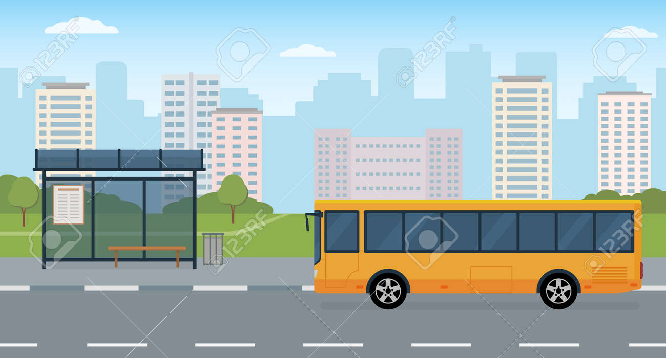 Bus and bus stop on modern city background. Concept of public transport. Panoramic view. Flat style, vector illustration. - 166971305