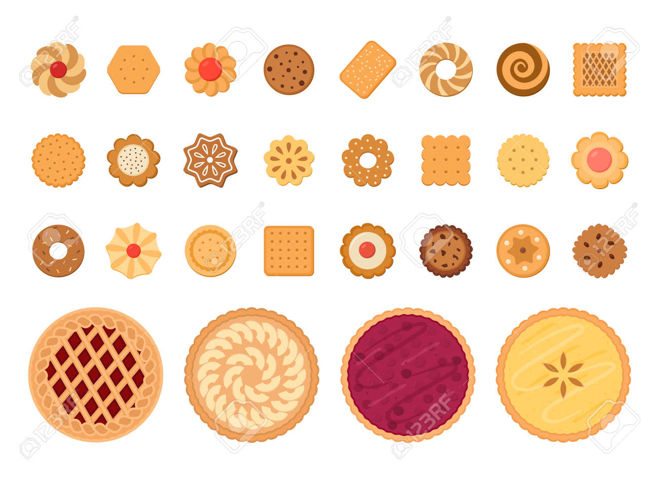 Set of fruit pies and cookies. Isolated on white background. Vector illustration. - 167409947