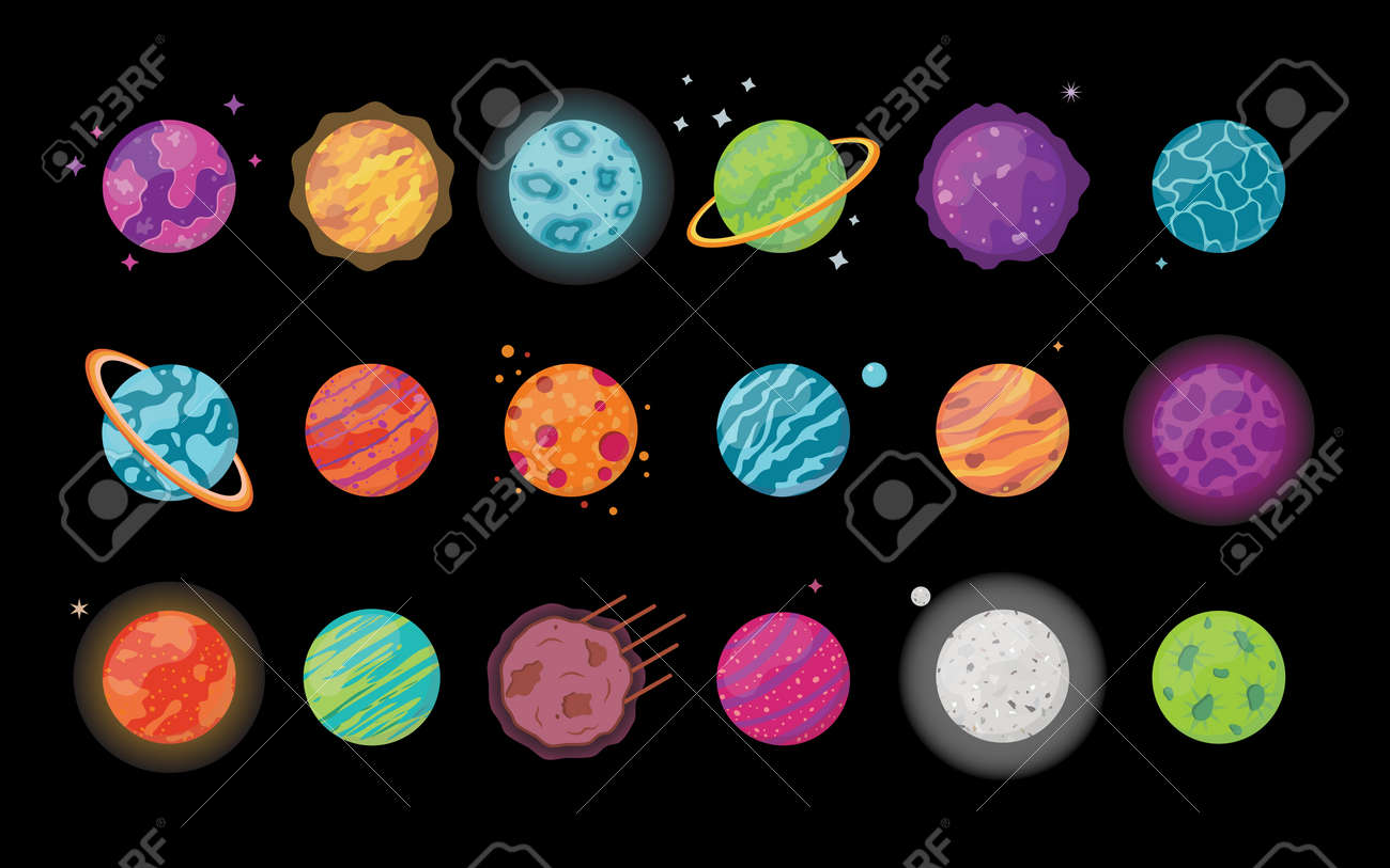 Collection of colorful fantasy planets. Isolated on black background. Game design. Vector illustration. - 170745512