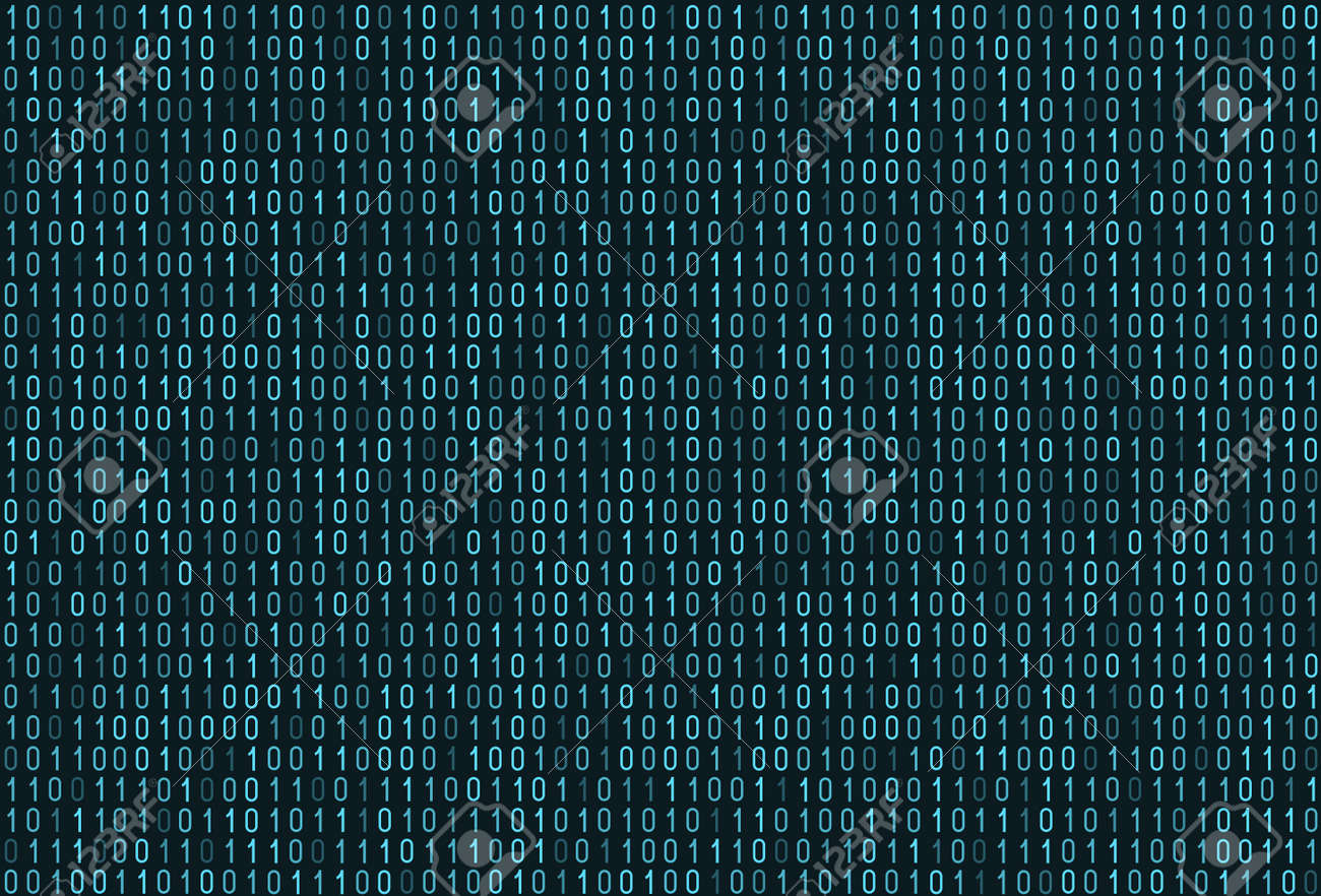 Binary computer code seamless pattern. Matrix background with digits 1.0. Vector illustration. - 170745513