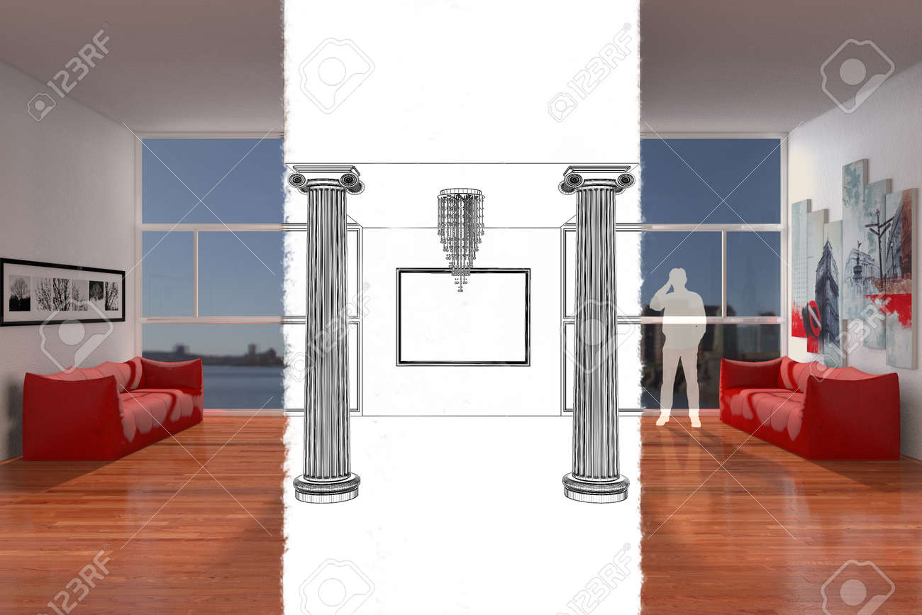 Living Room With Couches And Columns And Large Windows Stock Photo ...
