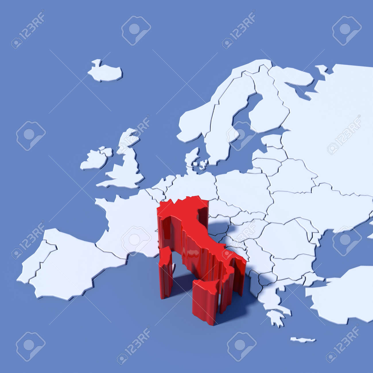 Europe Map 3d Relief Italy Stock Photo Picture And Royalty Free