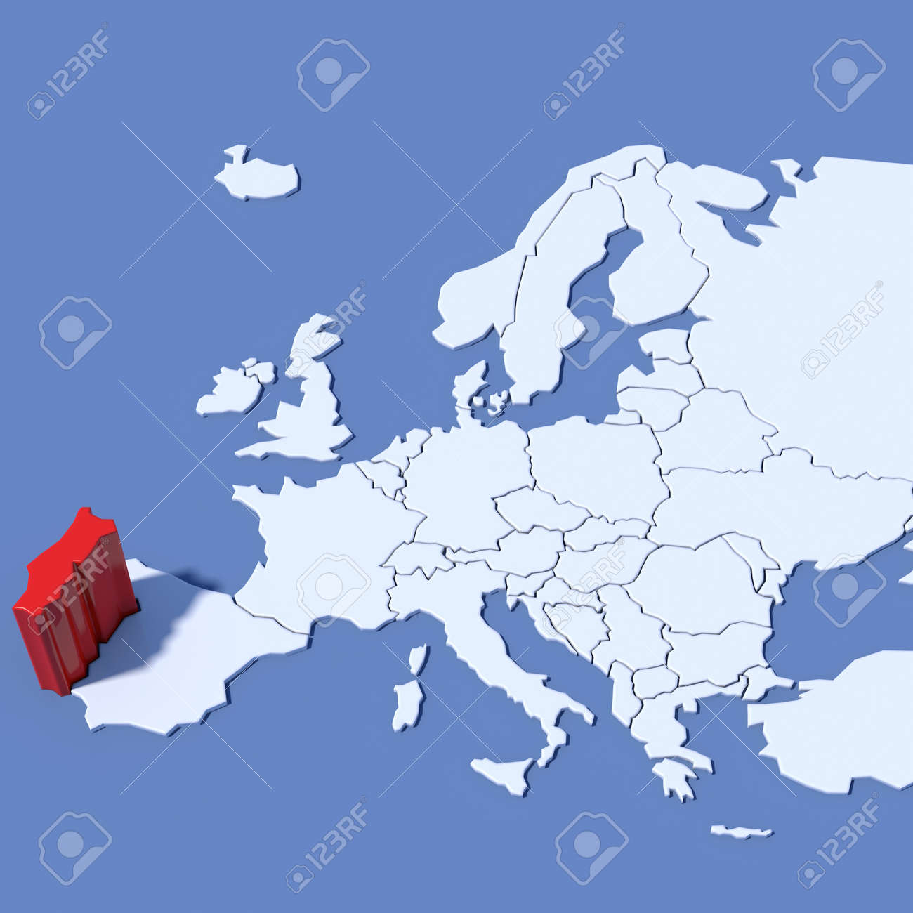 Europe Map 3d Relief Portugal Stock Photo Picture And Royalty Free