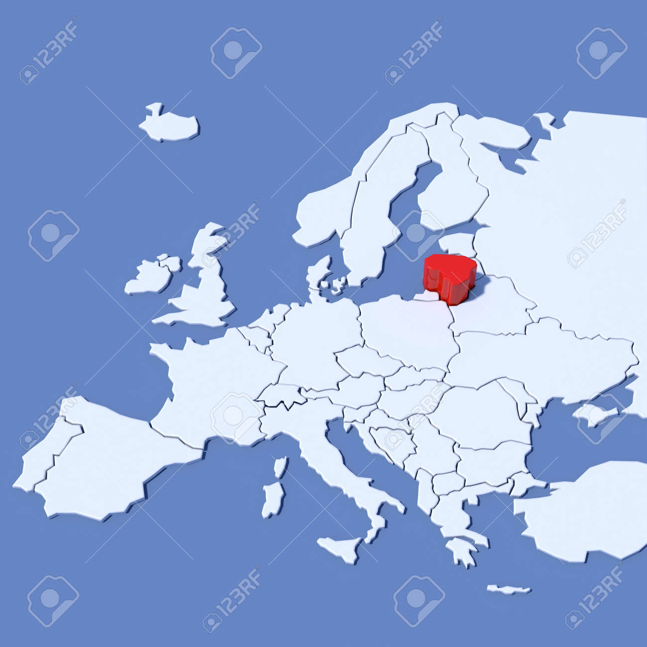 Lithuania On Europe Map.3d Map Of Europe With Indication Lithuania Stock Photo Picture And