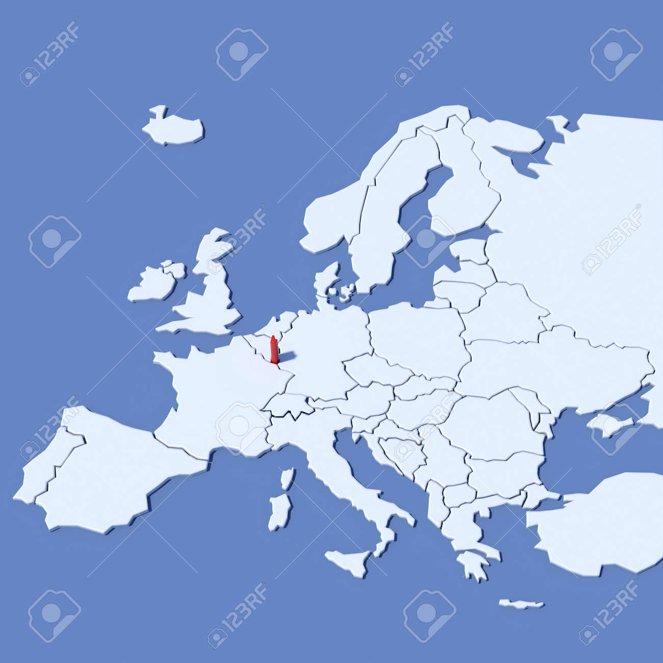 3d Map Of Europe With Indication Luxembourg Stock Photo Picture And