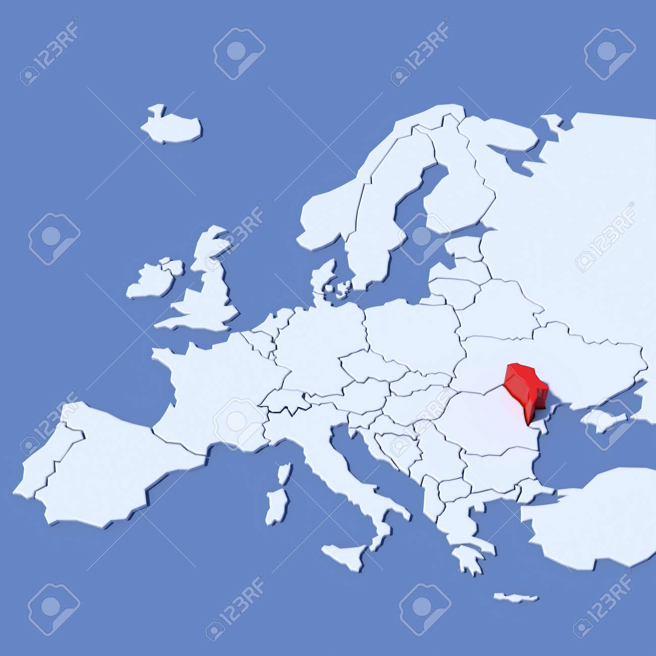 3d Map Of Europe With Indication Moldova Stock Photo Picture And