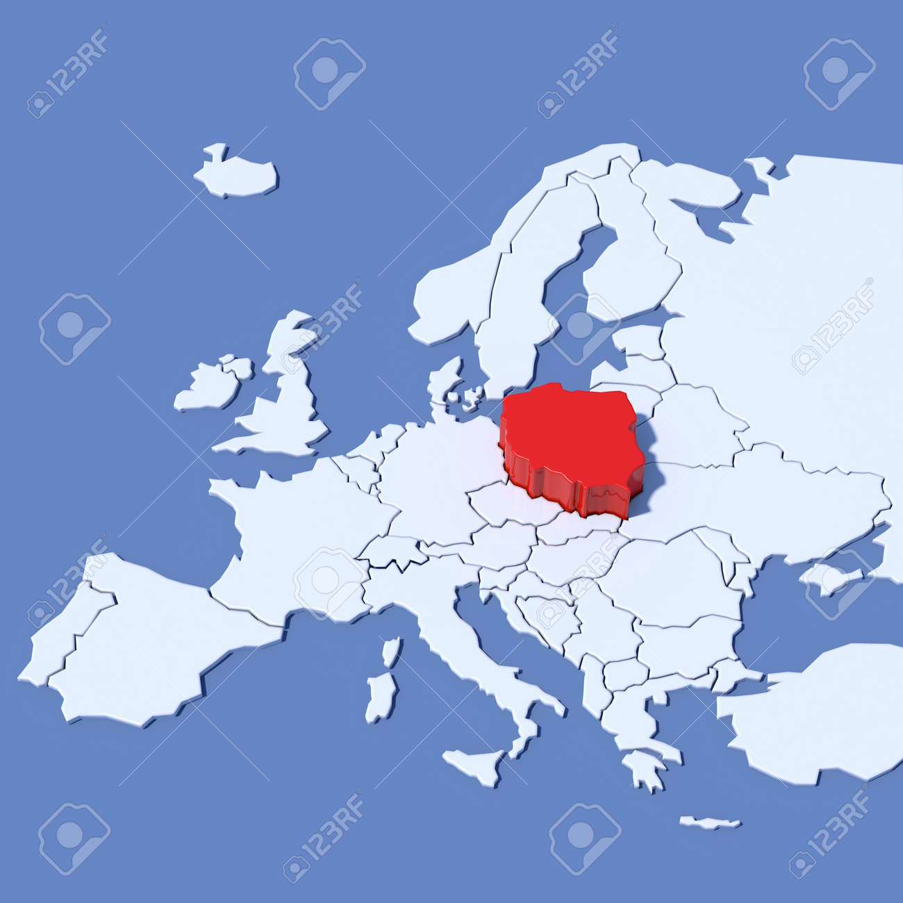 3D Map Of Europe With Indication Poland Stock Photo, Picture And ...