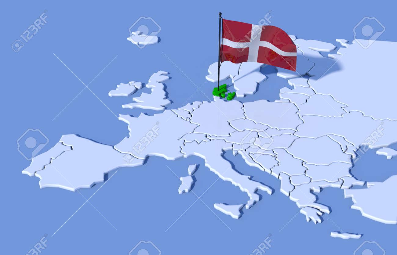 dänemark karte europa 3D Karte Europa Dänemark Flag Lizenzfreie Fotos, Bilder Und Stock