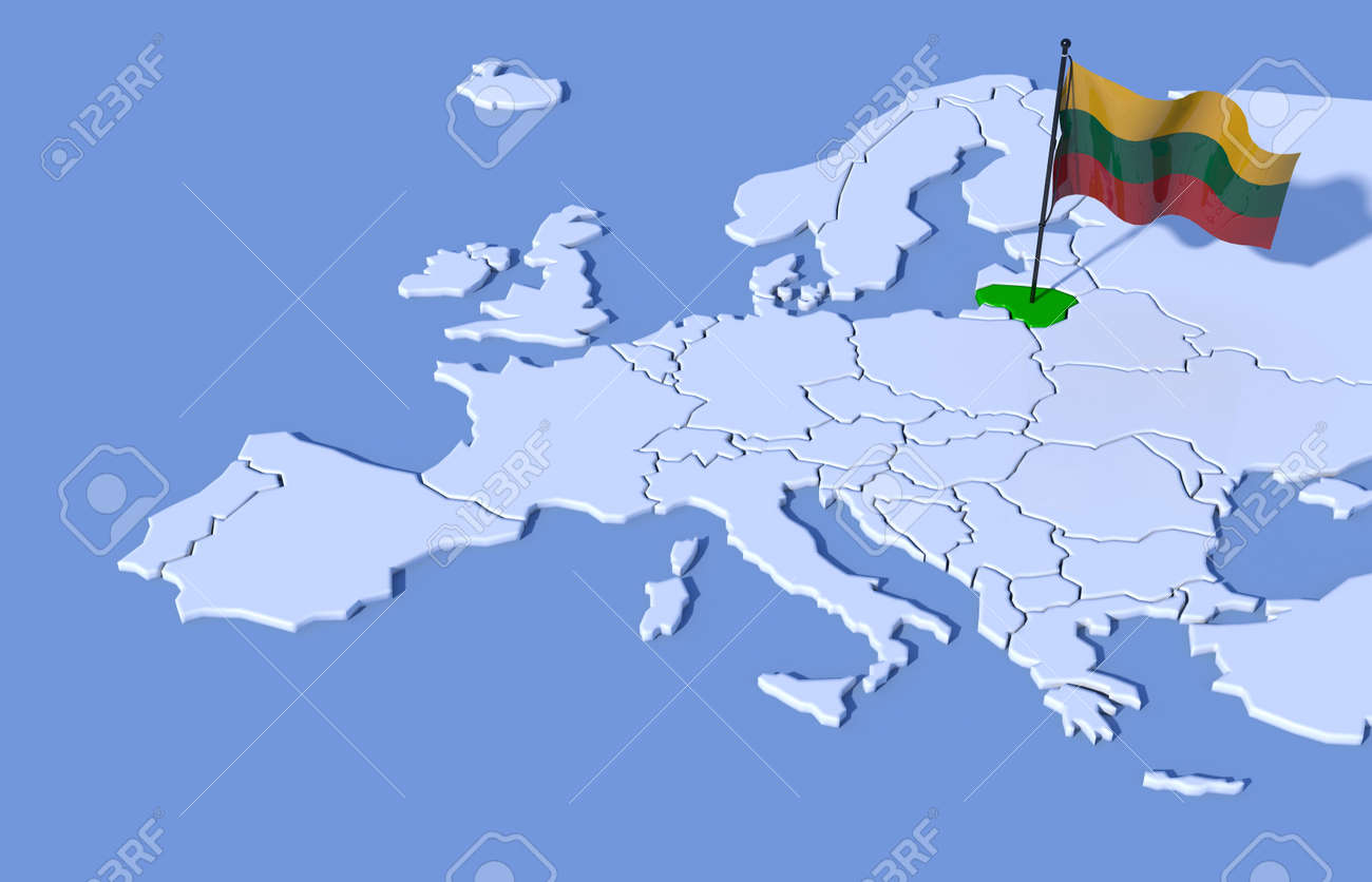 3D Map Europe Lithuania Flag Stock Photo Picture And Royalty Free