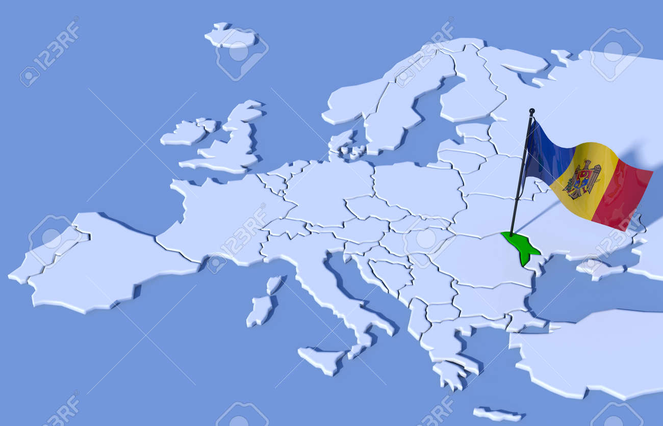3D Map Of Europe Flag Moldova Stock Photo Picture And Royalty Free