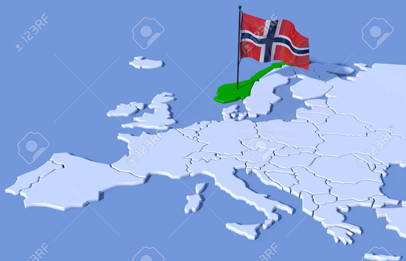 D Map Of Europe Flag Norway Stock Photo Picture And Royalty Free - Norway map and flag