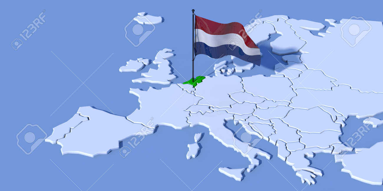 3d Flag Map Europe Netherlands Stock Photo Picture And Royalty Free