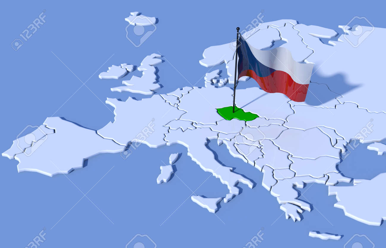3D Map Europe Czech Republic Flag Stock Photo, Picture And Royalty