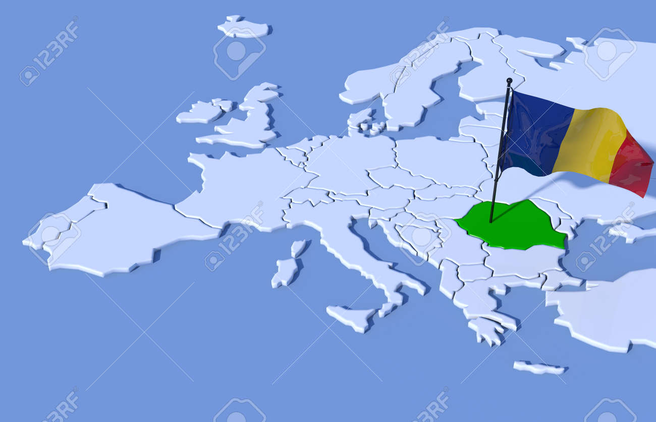 3D map flag Europe Romania