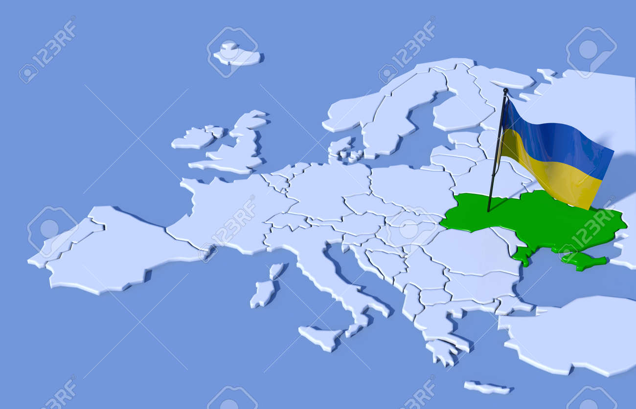 Ukraine On Map Of Europe.3d Map Of Europe Ukraine Flag Stock Photo Picture And Royalty Free