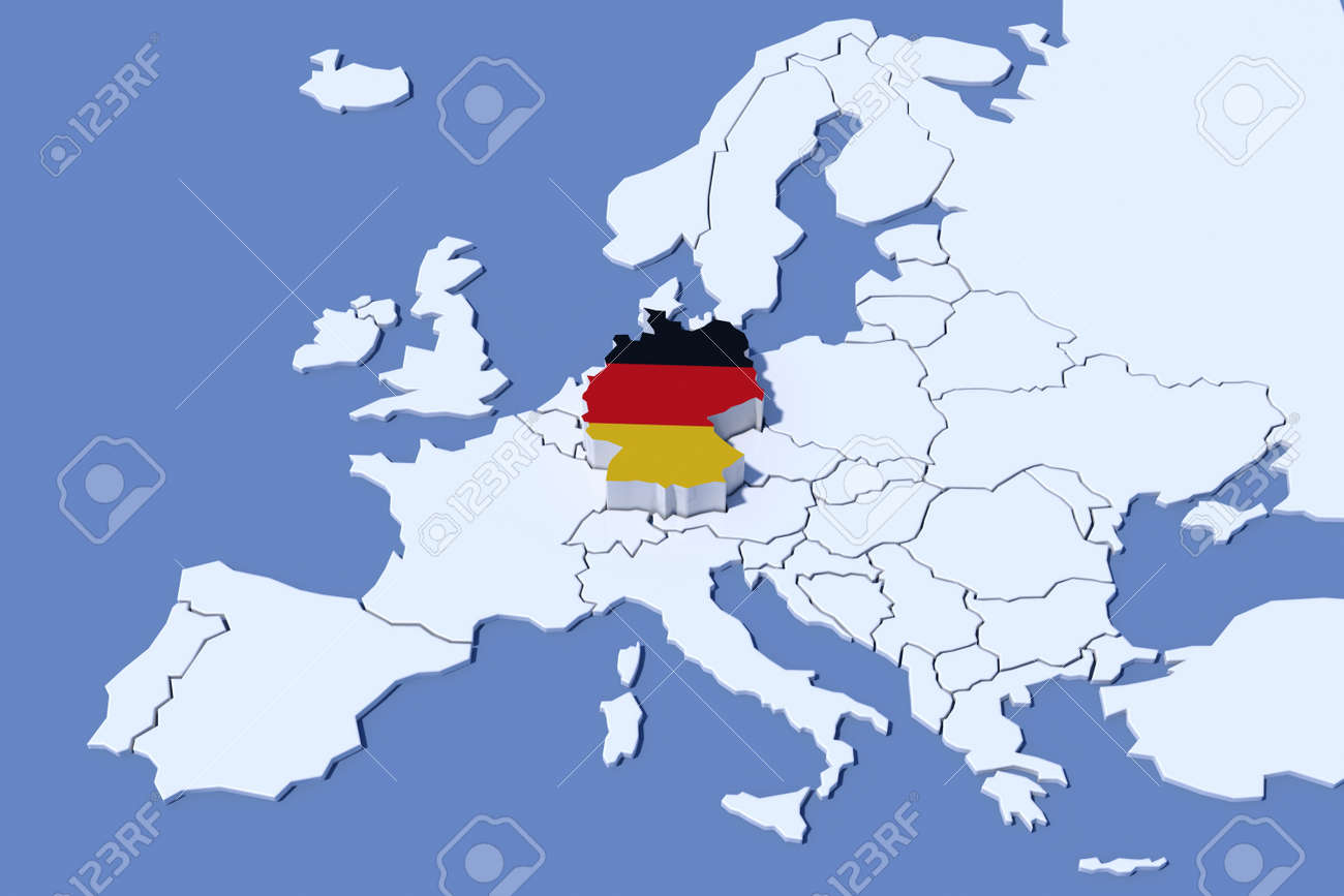 Europe Map 3d Relief Colors Germany Stock Photo Picture And Royalty