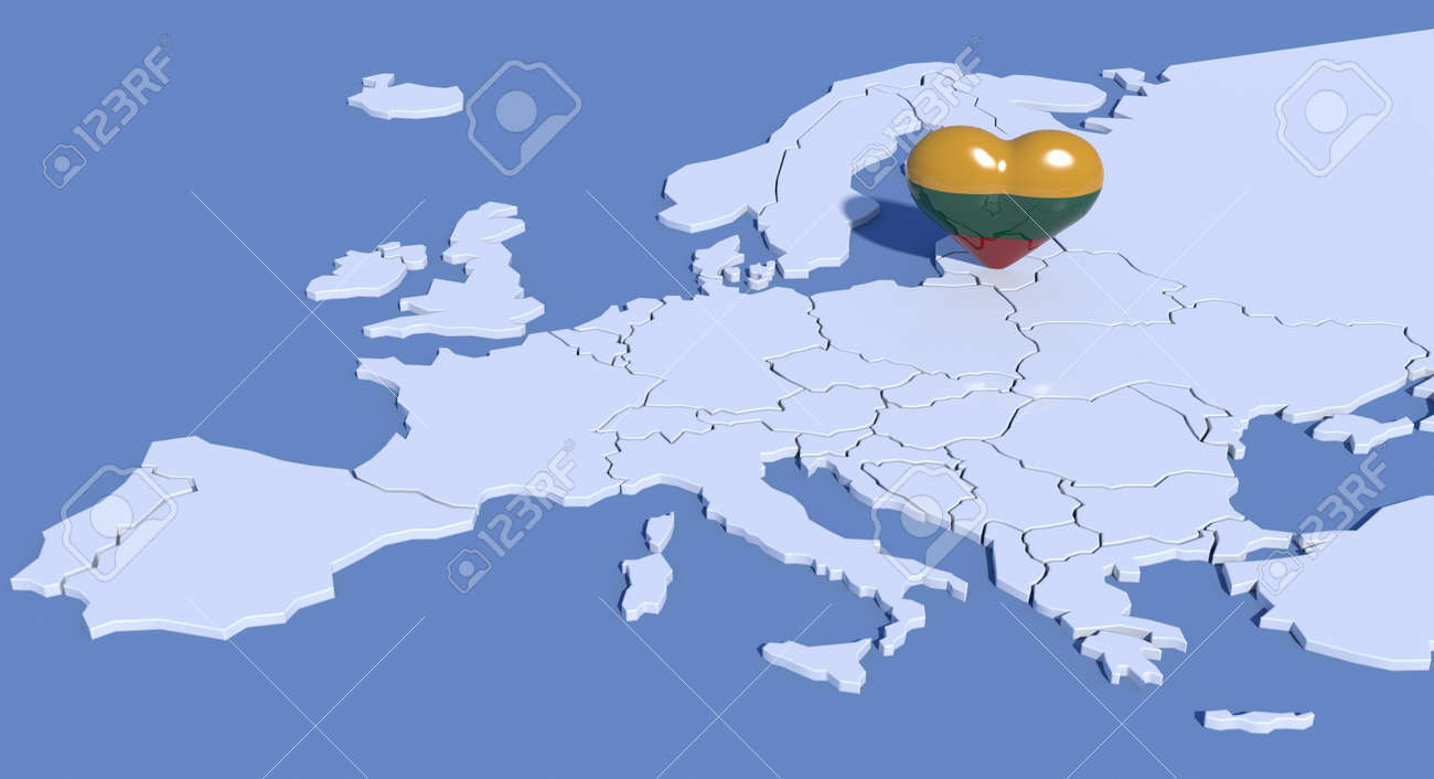 Lithuania On Europe Map.Europe Map With 3d Heart Lithuania Stock Photo Picture And Royalty