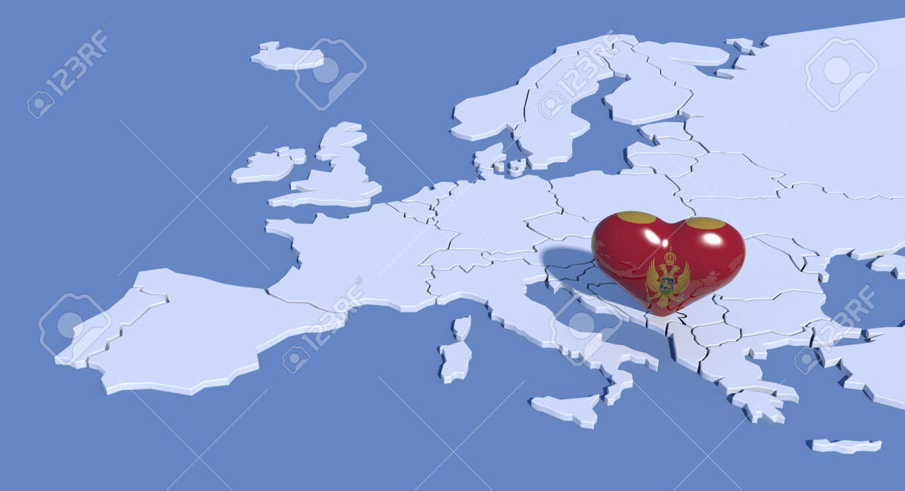 Montenegro On Europe Map.Europe Map With 3d Heart Montenegro Stock Photo Picture And Royalty