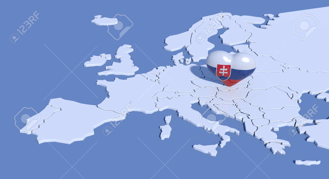 Europe Map With 3d Heart Slovakia Stock Photo Picture And Royalty