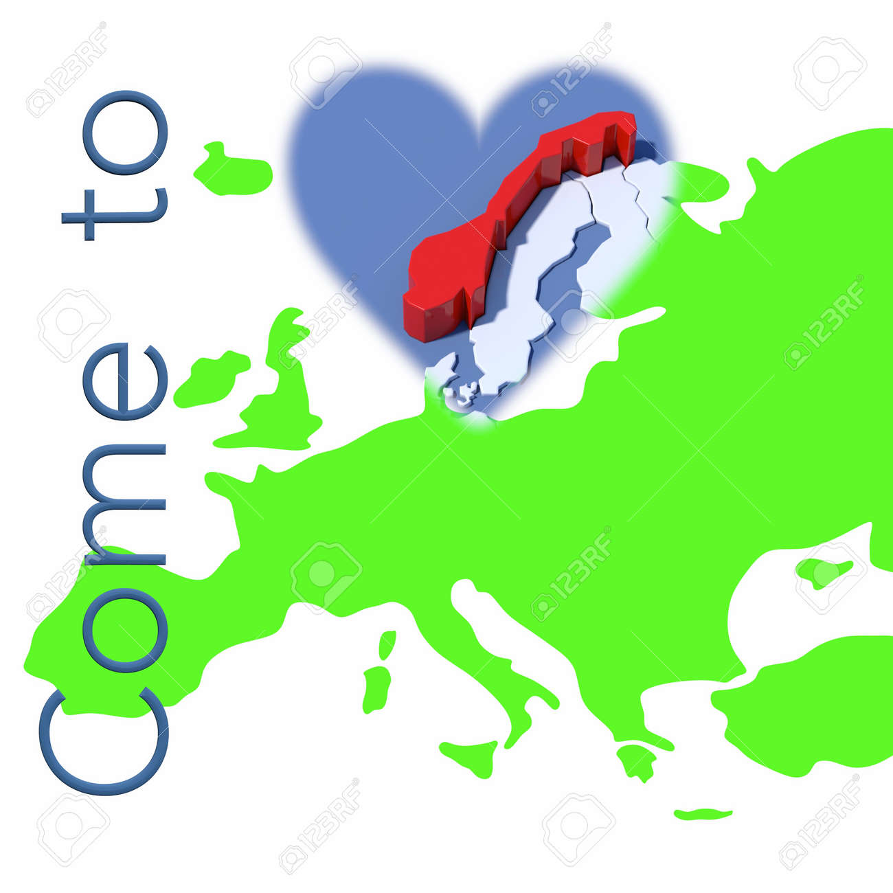 Norway On Europe Map.Come To Norway With Europe Map Stock Photo Picture And Royalty Free