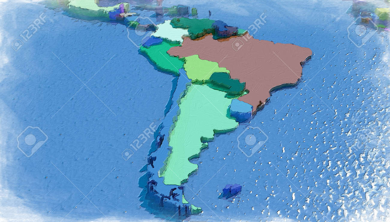 3d Map Of South America.3d Map Of South America With Colored Embossed Nations