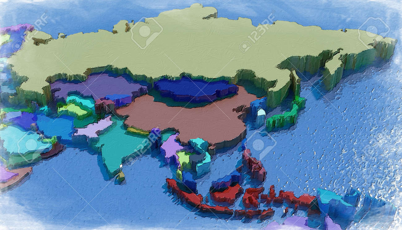 Map Of Asia 3d.Asia 3d Map With Colored Embossed Nations