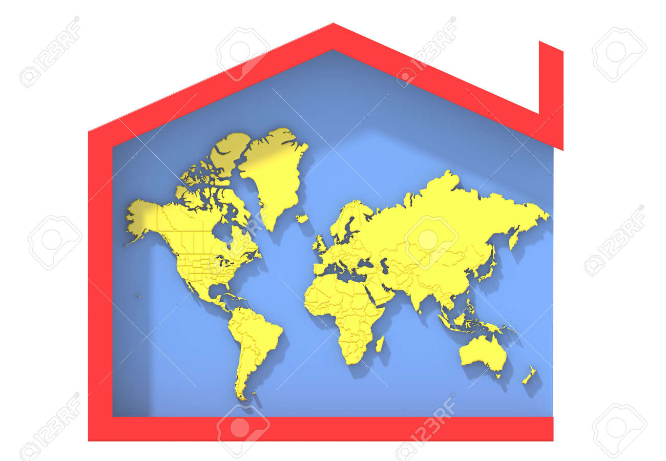 Terra Earth Map.3d Map Terra Colors With House Symbol Stock Photo Picture And