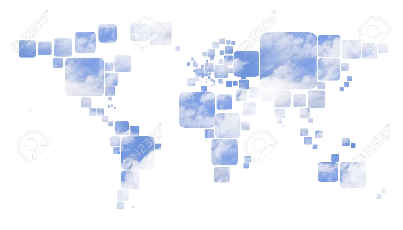 Square Earth Map.Map 3d Earth With Square And Colored Background Stock Photo Picture