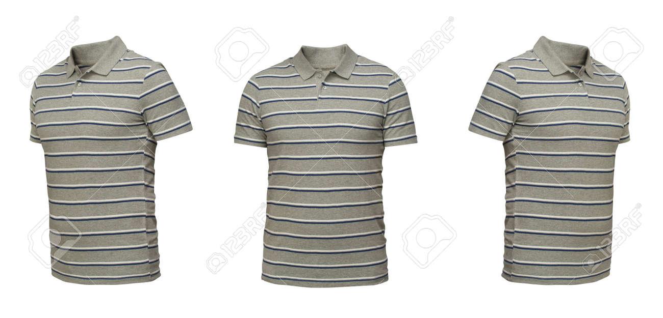 67b900cea7a7 Graues Polo-Shirt mit Streifen. Vorderansicht des T-Shirts drei Positionen  auf einem