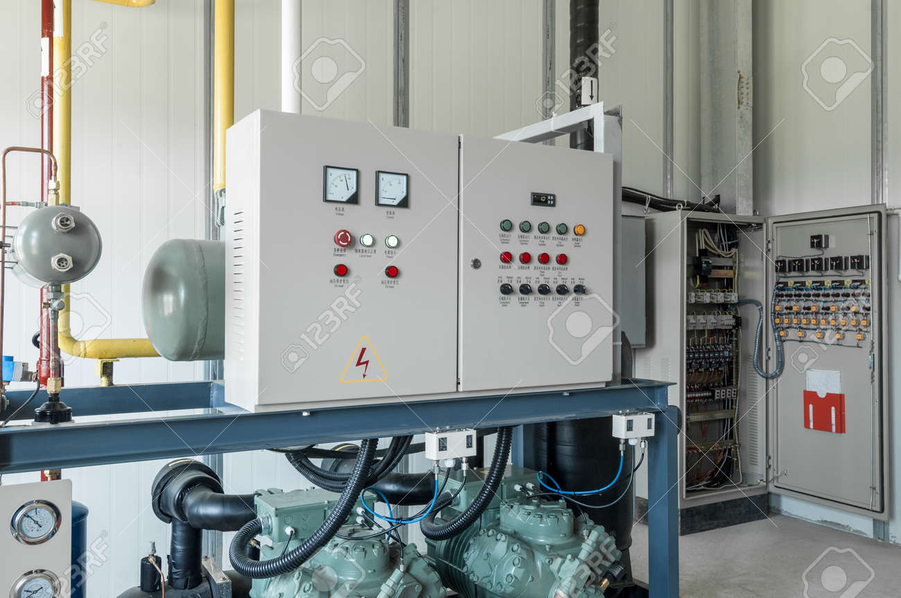 room with control box and distribution  panel switchgear for compressor  control stock photo - 78236597