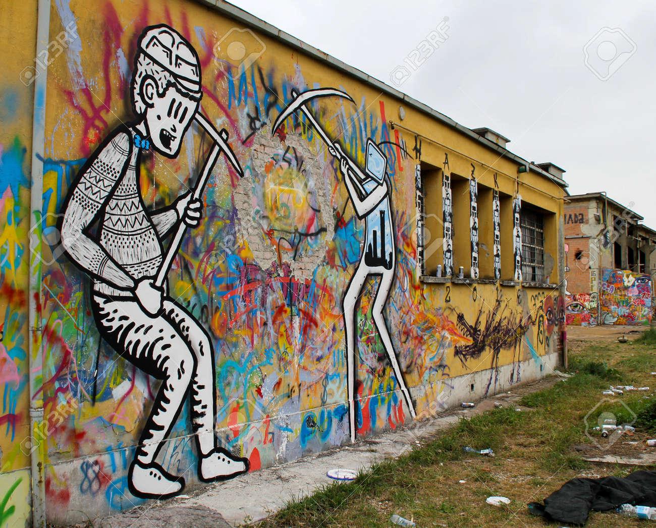 2 April 2016 Bologna Italy Street Art Graffiti Painted Wall In An Ababdonade