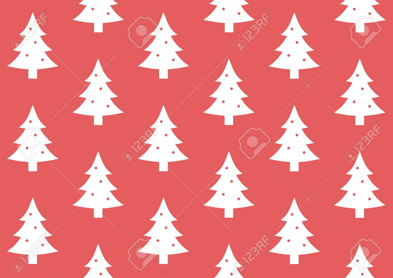 Gift Wrap Christmas Tree On Red Background Pattern Stock Photo ...