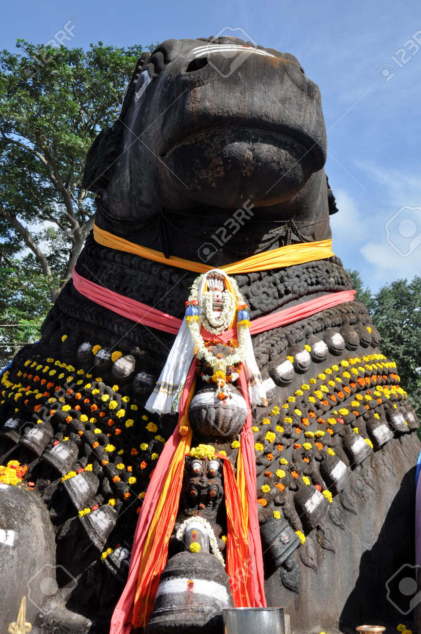The Nandi bull on Chamundi Hill, Mysore, Karnataka, India Stock Photo - 15966827