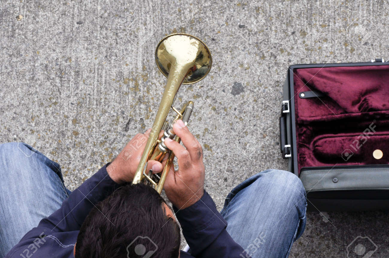 Street Musician Playing To Earn Money Stock Photo 16464890 Street Musician  Playing To Earn Money Stock