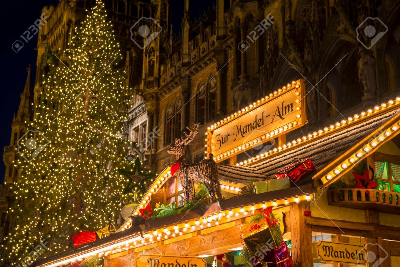 Christmas In Munich Germany.Christmas Market At Marienplatz In Munich Germany