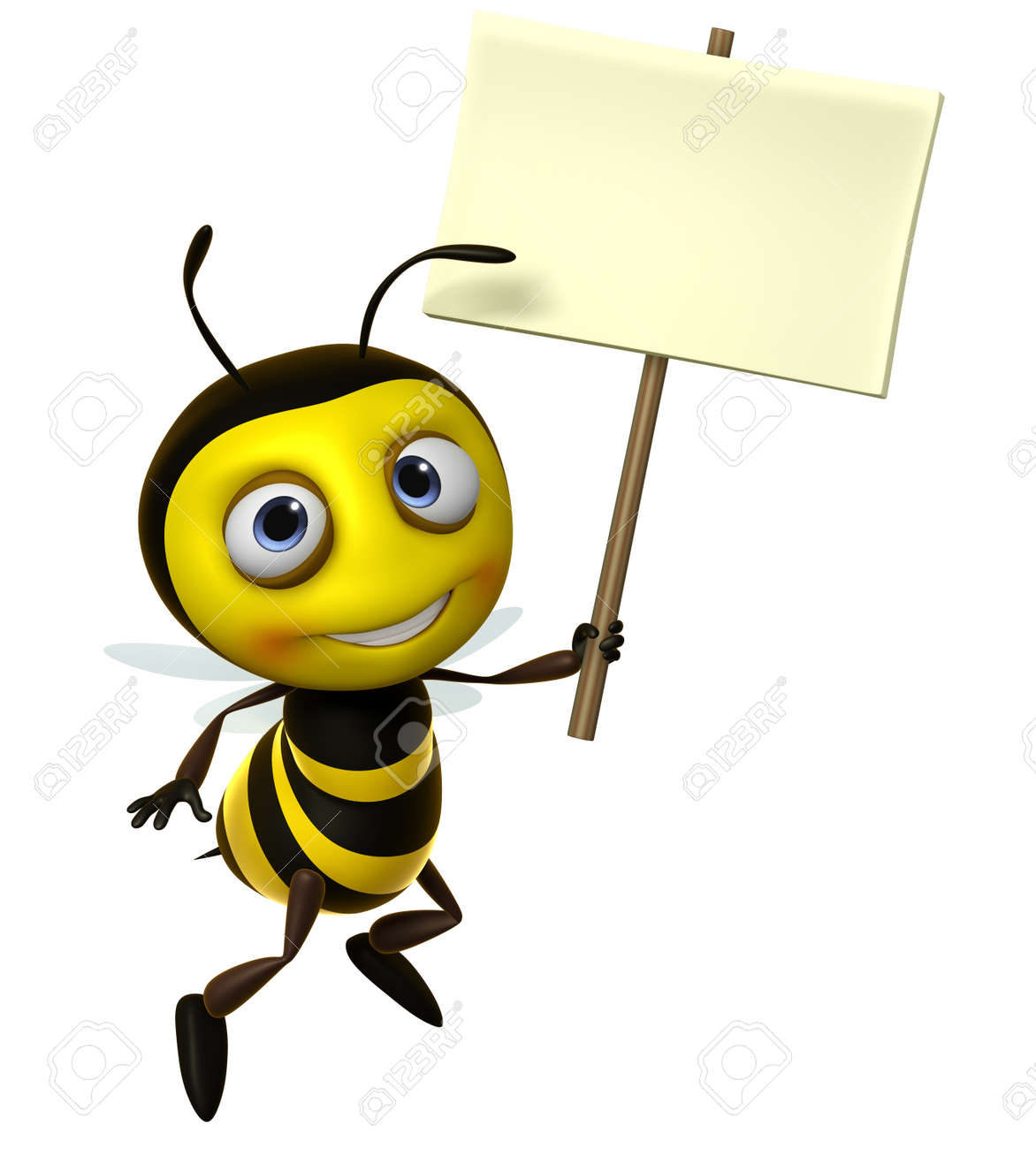 Bumble bee cartoon 3d cute honey bee holding blank