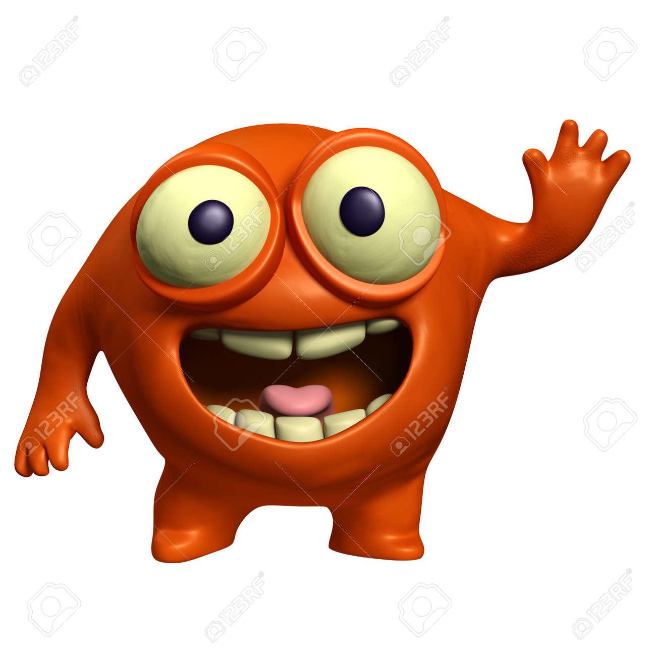 3d cartoon red alien Stock Photo - 15625036