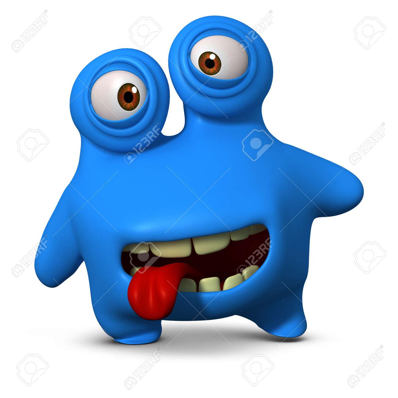 3d cartoon blue monster Stock Photo - 15625044