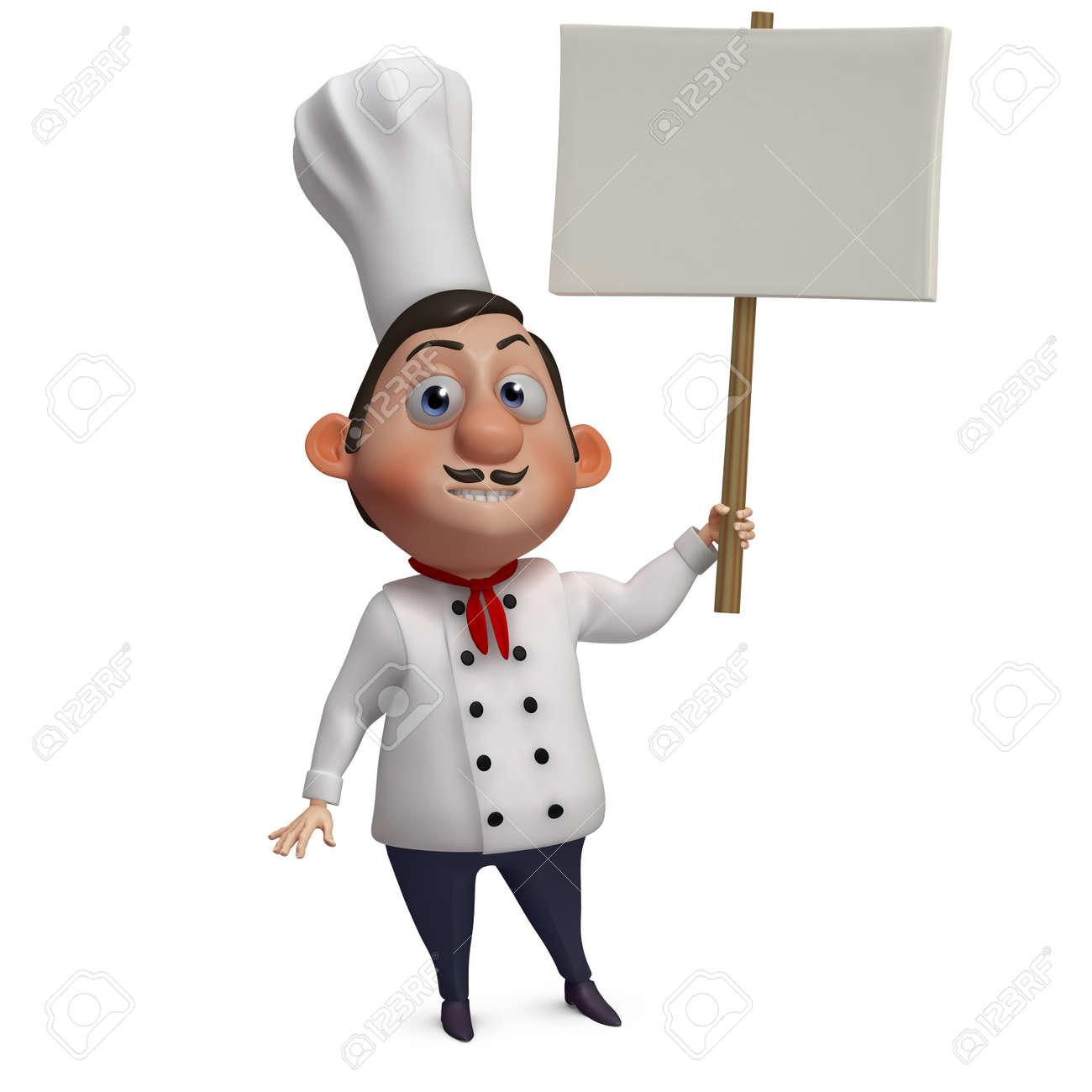 3d cartoon chef holding blank Stock Photo - 15626098