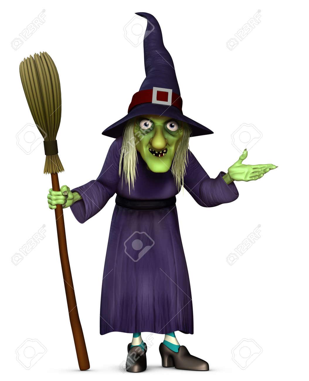 3d cartoon halloween harridan with broom stock photo 15626243 - Halloween Witch Cartoon