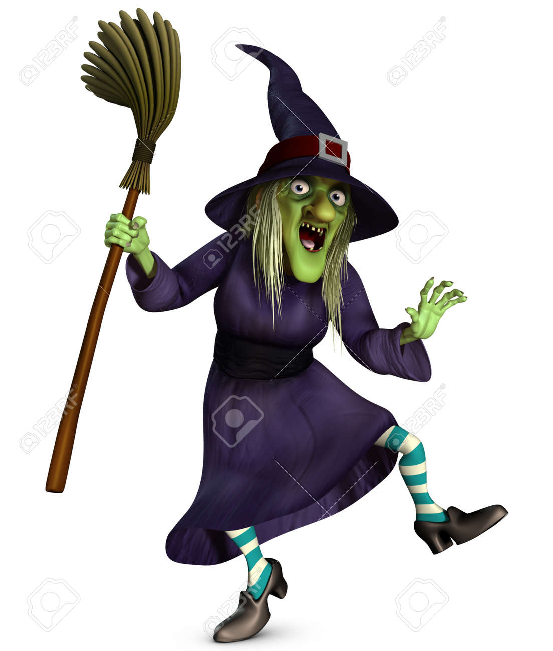 3d Cartoon Halloween Beldame With Broom Stock Photo, Picture And ...