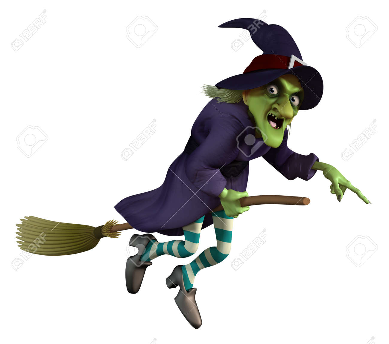 flying witch on a broom stock photo picture and royalty free