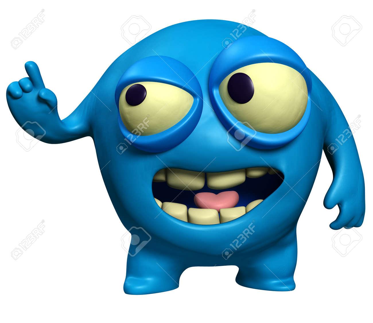 3d cartoon blue virus Stock Photo - 15731958
