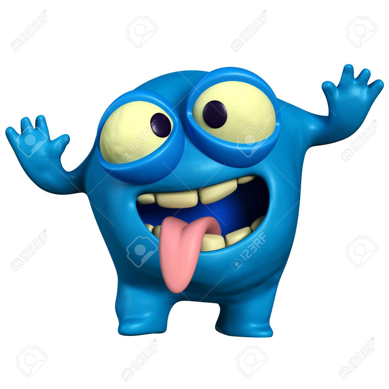 cartoon crazy blue monster Stock Photo - 15732026
